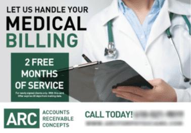 medical billing postcard